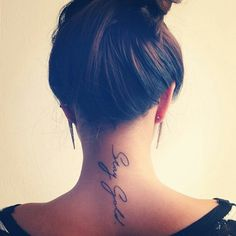 Neck tattoo, love the font and placement.