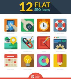12 Flat SEO Icons | Free for Personal and Commercial Use | Design by Vladislav Karpov