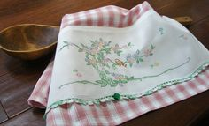 Tea Towel - Pretty Bird - Vintage Recycled to Upcycled Home Decor  - Homespun