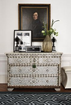 <strong>TREASURE CHEST</strong> | An Indian set of drawers inlaid with mother-of-pearl in the master bedroom.