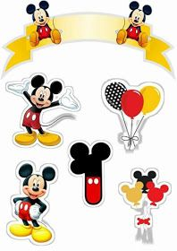 Mickey First Year Free Printable Cake Toppers. Baby Mickey, Disney Mickey Mouse, Mickey Mouse E Amigos, Theme Mickey, Fiesta Mickey Mouse, Mickey Party, Mickey Mouse And Friends, Mickey Mouse Birthday, Minnie Mouse Party