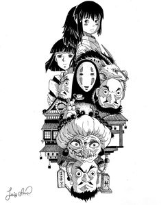 Studio Ghibli Tattoo, Studio Ghibli Art, Studio Ghibli Movies, Photo Japon, Film Animation Japonais, Art Sketches, Art Drawings, Studio Ghibli Background, Chihiro Y Haku
