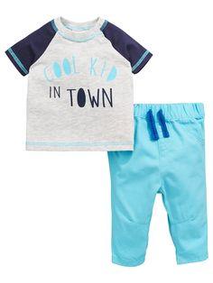 Ladybird Baby Boys Slogan S/s Tee And Woven Trouser Set | very.co.uk