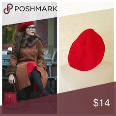 Sexy Red Beret Beanie Stretchy . Knit . OSFM.  Modeled photo is style inspiration .  #122007 posh on first boutique  Accessories Hats