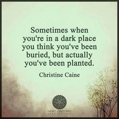 Sometimes when you're in a dark place you think you've been buried, but actually…