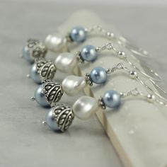 White Pearl Bridal Earrings  #Pastel Blue  Wedding ... Wedding ideas for brides & bridesmaids, grooms & groomsmen, parents & planners ... https://itunes.apple.com/us/app/the-gold-wedding-planner/id498112599?ls=1=8 … plus how to organise an entire wedding, without overspending ♥ The Gold Wedding Planner iPhone App ♥