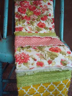 RAG QUILT THROW  PeRFeCT sized poppy coral sunshine beauty by NorthernCottage - SaLe - Ready to Ship ♥
