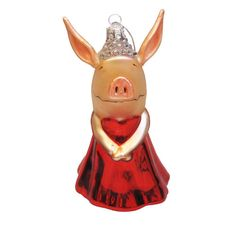 Kurt Adler OL4801 Glass Olivia the Pig Ornament 5-Inch