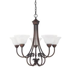 """26x25"""" $160 Overstock.com  5-light chandelier features a burnished bronze finish"""