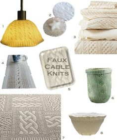 Faux Cable Knits for the Home