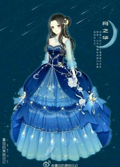 Anime Girl Under Moon Wallpapers) – Wallpapers and Backgrounds Chica Anime Manga, Manga Girl, Star Fashion, Fashion Art, Fashion Design, Dress Up Diary, Kleidung Design, Anime Dress, Estilo Anime