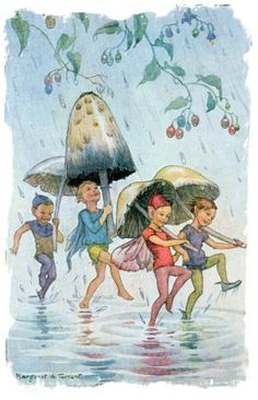 During a rainstorm, toadstool and mushroom umbrellas make 'The Puddle Dance' possible for sprites and fairies. (art by Margaret Tarrant) <> (fairies, fae)