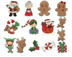 Christmas filled machine embroidery designs with elves, santa, mrs clause, gingerbread and rudolph