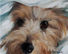 "PRINT Cairn Terrier Dog Puppy Art Oil Painting Home Decor Gift / Mary Sparrow of Hanging the Moon Studio ""Under Cover"""