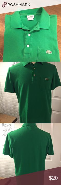 """Lacoste Classic Pocket Polo Shirt Size 5 Lacoste Polo Shirt  Style - Classic Pocket  Size - 5 (Large)  Measurements: Pit to Pit - 21.5"""" Collar to Bottom - 26""""  Color - Green  Excellent Pre-Owned Condition Lacoste Shirts Polos"""