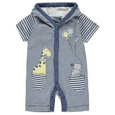 Striped Hooded All in One | Baby | George