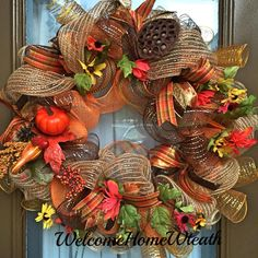 Fan favorite and top seller, the Classic Fall Deco Mesh Wreath. Only $55 plus shipping. https://www.facebook.com/DecoMeshWreath/photos/a.510640062338798.1073741826.213639865372154/832343456835122/?type=1&theater