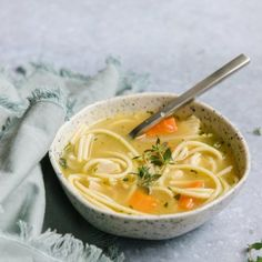 Make ahead and freeze this easy chicken noodle soup recipe for a quick and homemade meal on hand. Rich stock, chicken, vegetables, and noodles make this freezer meal recipe such a comfort food! via happymoneysaver #freezermeal #easydinner #chickennoodlesoup