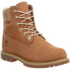 Timberland Premium 6 Boots ($170) ❤ liked on Polyvore featuring shoes, boots, ankle booties, timberlands, ankle boots, indian tan leather, women, leather lace up boots, waterproof ankle boots and waterproof boots