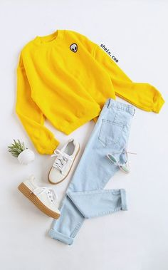 Yellow Drop Shoulder Embroidered Sweatshirt Style: Cute Season: Fall Type: Pullovers Pattern Type: Embroidery Color: Yellow Source by outfit Teenage Outfits, Teen Fashion Outfits, Outfits For Teens, Fall Outfits, Girl Fashion, Fashion Ideas, Womens Fashion, 20s Fashion, Dance Outfits
