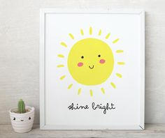 Shine Bright smile sun Print,Nursery Sunshine Print, You Are My Sunshine, Inspirational Quote for Kids Room,Cute kids wall art, sun art kids by ArtPrintsFactory on Etsy