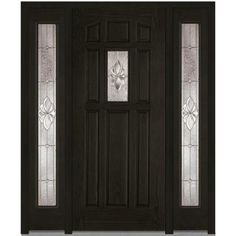 Milliken Millwork 60 in. x 80 in. Heirloom Master Decorative Glass 1/4 Lite Finished Oak Fiberglass Prehung Front Door with Sidelites-Z014203L - The Home Depot