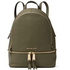 Michael Michael Kors Rhea Zip Small Backpack (8.730 UYU) ❤ liked on Polyvore featuring bags, backpacks, leather zip backpack, leather tote, brown leather tote, handbags totes and leather handbag tote