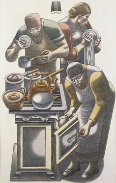 'The Kitchen' by British artist William Roberts Watercolour, pencil & crayon on paper, 22 x in. via Jonathan Clark & Co British Artist, Painting People, Three Graces, Illustration, Suprematism, Art, Art History, Figurative Artists, Love Art