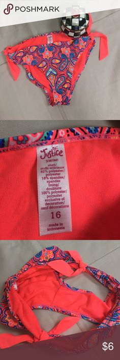 Bikini Bottom,  Justice swim bottoms, girls bikini Girls Bikini Bottoms.  Size 16, would fit a junior for sure.  In excellent condition.  Purchased at Justice. Worn 1 time.  OWL-0145 Justice Swim Bikinis