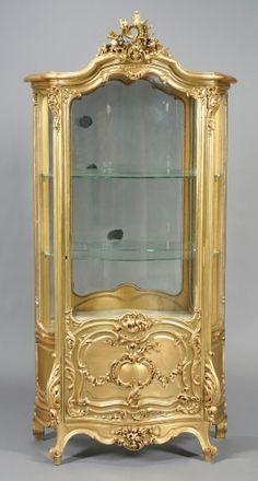 Antique Display Cabinet Gilt Wood