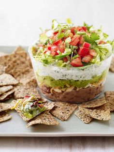 Slim Six-Layer Dip - I think I can make this healthier with modifications.