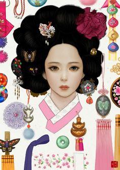 한국 여인 일러스트 (일러스트/한국적인/한국적인 일러스트/한국적인 ... Korean Traditional Dress, Traditional Outfits, Korean Art, Asian Art, Korean Illustration, Korean Tattoos, Korean Painting, Korean Design, Korean Products