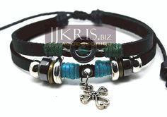 Pulsera de cuero, cañamo y beads de piedras y metal de JJKris Accessories