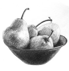 Charcoal Drawing Technique Shading Lesson from the Drawing Essentials Course - Drawing Lessons, Drawing Techniques, Drawing Tips, Learn Drawing, Basic Drawing, Drawing Drawing, Drawing Ideas, Fruit Bowl Drawing, Fruits Drawing