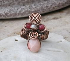 pink opal ring in copper with rubies and by EdisLittleTreasures, $44.00