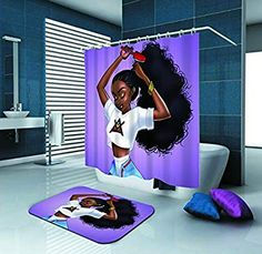 Black Afro women/girl Curtain Shower Curtains Set with Doormat Bath Rugs Black Shower Curtains, Black Curtains, Shower Curtain Sets, Bathroom Shower Curtains, Afro Shower Curtain, Girl Bathroom Decor, Bathroom Design Small, Bathroom Ideas, African Shower Curtain