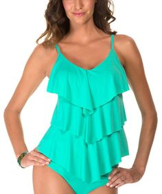 Another great find on #zulily! Pistachio Ruffle Rita Tankini Top by Magicsuit #zulilyfinds