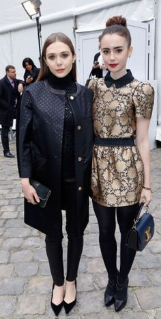 Elizabeth Olsen and Lily Collins at Vuitton show