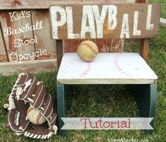 Kids Baseball Stool Up cycle baseball vintage stool kids DIY mod podge www.chasethestar.net