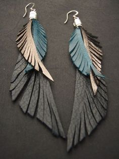 Leather Feather Earrings blue black and gold by CyclonaDesigns