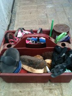 Build a great grooming box for your horse with basic items!  http://www.proequinegrooms.com/index.php/tips/equipment-and-tack/the-grooming-box/