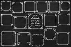 Chalk Art Deco/Nouveau Frame ClipArt. Illustrations