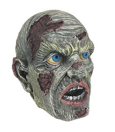 Creepy Blue Eyed Zombie Head Figure Statue