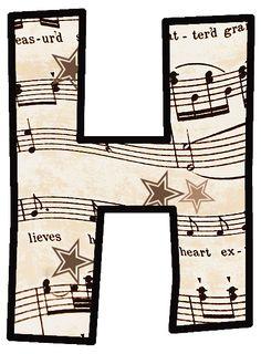 ArtbyJean - Vintage Sheet Music: Set 003 - Vintage Sheet Music Free Clipart Biege Tan - Alphabet Set