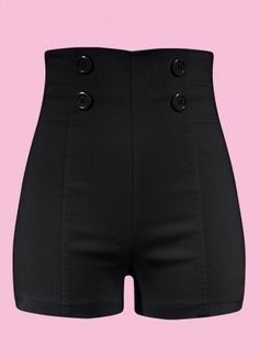 Womens Stretchy High waisted Button Sailor Nautical Shorts ...