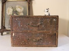 primitive vintage two-drawer wooden box
