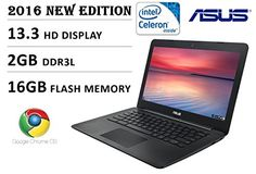 2016 Newest Model Asus 13.3 inch HD Premium Built Chromebook, Intel Dual-Core Processor 2.16GHz, 2GB DDR3, 16GB EMMC flash memory, 802.11 AC, Webcam, HDMI, USB 3.0, SD Card Reader, Chrome OS, Black Flash Memory, Chromebook, Card Reader, New Model, Sd Card, Computer Accessories, Laptops, Core, Usb