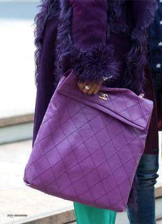 Chanel in Violet Purple Stuff, Purple Love, All Things Purple, Shades Of Purple, Purple Bags, Purple Handbags, Bright Purple, Deep Purple, Coco Chanel