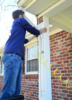 Removing Scalloped Porch Trim & Fixing The Columns would love to do this to our front porch posts Front Porch Posts, Front Porch Columns, Front Porches, Porch Column Wraps, Porch Railings, Young House Love, House With Porch, House Front, Porch Trim
