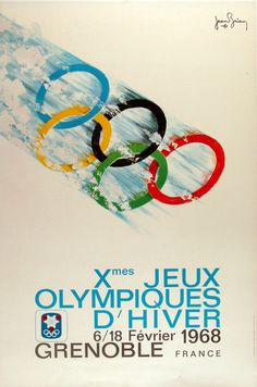 1968 Grenoble Olympics poster I love the movement of the Olympic Rings. Clean graphics